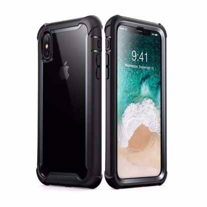 Picture of i-Blason i-Blason Ares Clear Case with Screen Protector for Apple iPhone XS/X in Black